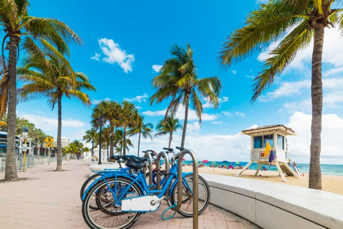 Bicycles parked on Fort Lauderdale seafront